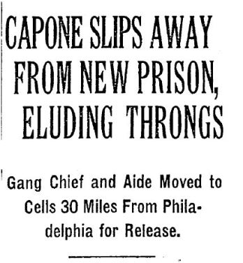 Capone Slips Away NYT Headline