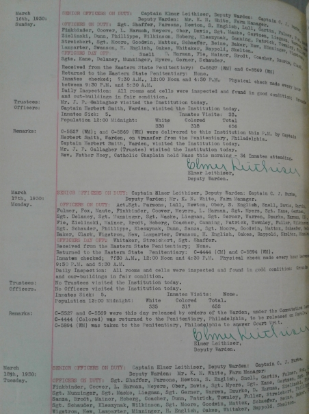 Graterford Warden Log_March 1930