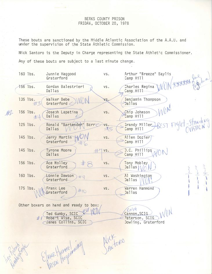 Berks Co Prison Boxing Results 1978