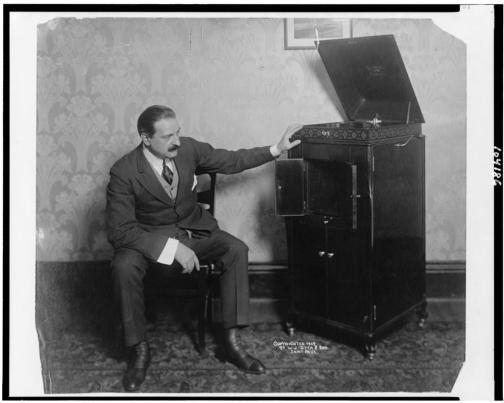 White Man with Phonograph