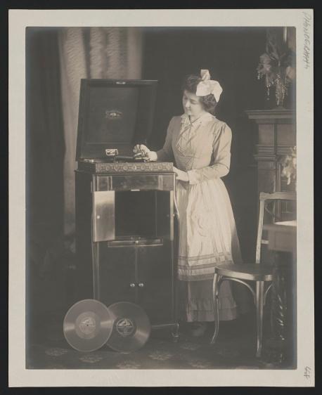 White Woman With Radio